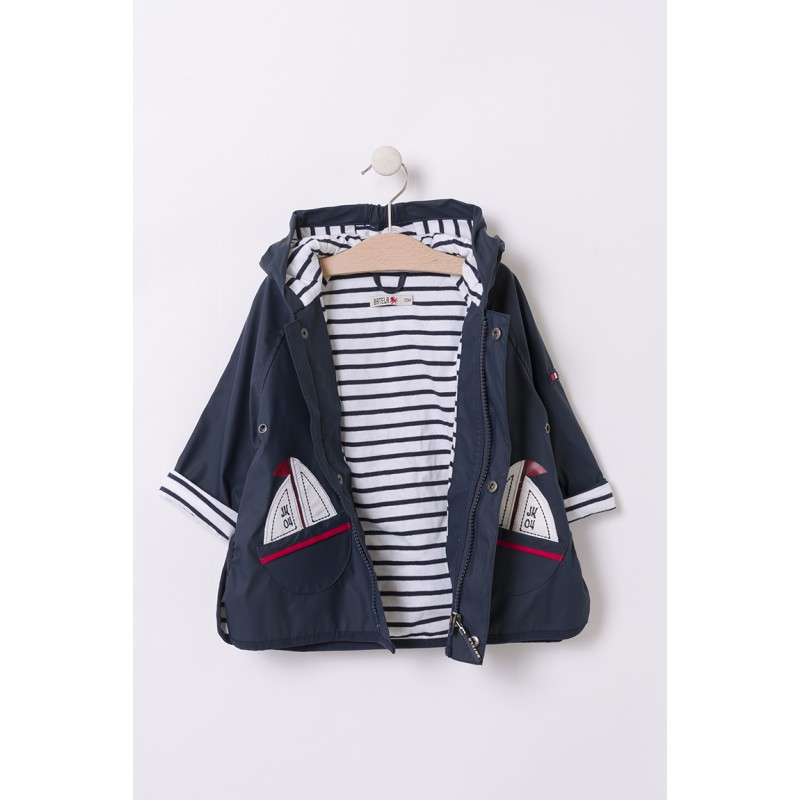 Chubasquero de bebé con bolsillos de veleros